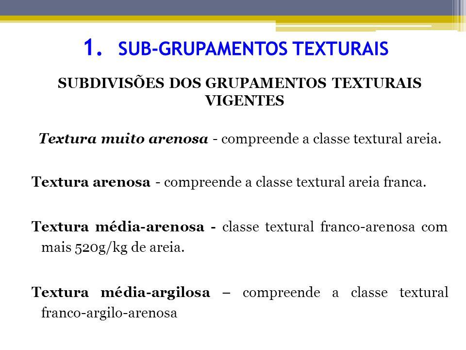 1- SUB-GRUPAMENTOS TEXTURAIS Textura média-siltosa - compreende a textura média vigente, exceto franco-argilo-arenosa e franco-arenosa com mais de 520g/kg de areia.