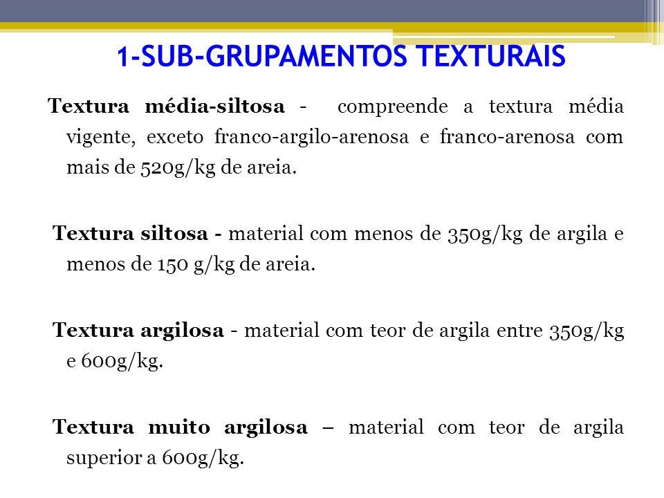 1- SUB-GRUPAMENTOS TEXTURAIS Textura média-siltosa - compreende a textura média vigente, exceto franco-argilo-arenosa e franco-arenosa com mais de 520