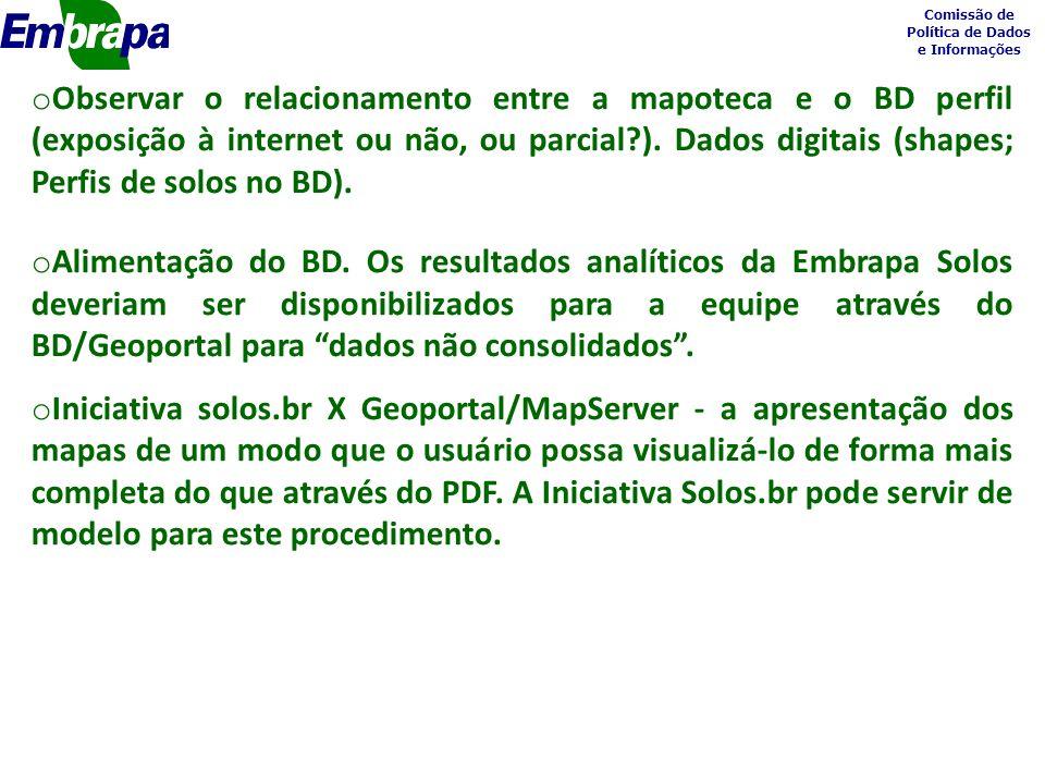 Comissão de Política de Dados e Informações o Observar o relacionamento entre a mapoteca e o BD perfil (exposição à internet ou não, ou parcial ).