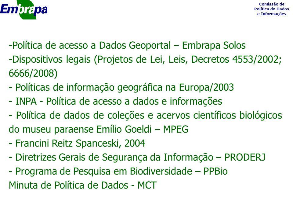 Comissão de Política de Dados e Informações -Política de acesso a Dados Geoportal – Embrapa Solos -Dispositivos legais (Projetos de Lei, Leis, Decretos 4553/2002; 6666/2008) - Políticas de informação geográfica na Europa/2003 - INPA - Política de acesso a dados e informações - Política de dados de coleções e acervos científicos biológicos do museu paraense Emílio Goeldi – MPEG - Francini Reitz Spanceski, 2004 - Diretrizes Gerais de Segurança da Informação – PRODERJ - Programa de Pesquisa em Biodiversidade – PPBio Minuta de Política de Dados - MCT