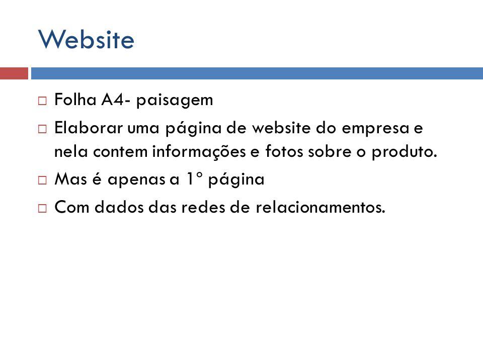 Website Folha A4- paisagem Elaborar uma página de website do empresa e nela contem informações e fotos sobre o produto. Mas é apenas a 1º página Com d