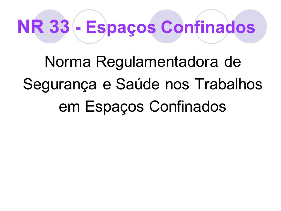 NR 33 - Implementação 33.3 Gestão de SST nos trabalhos em espaços confinados 33.3.3 Medidas Pessoais Capacitar todos os trabalhadores envolvidos direta ou indiretamente com os espaços confinados, sobre seus direitos, deveres, riscos e medidas de controle;