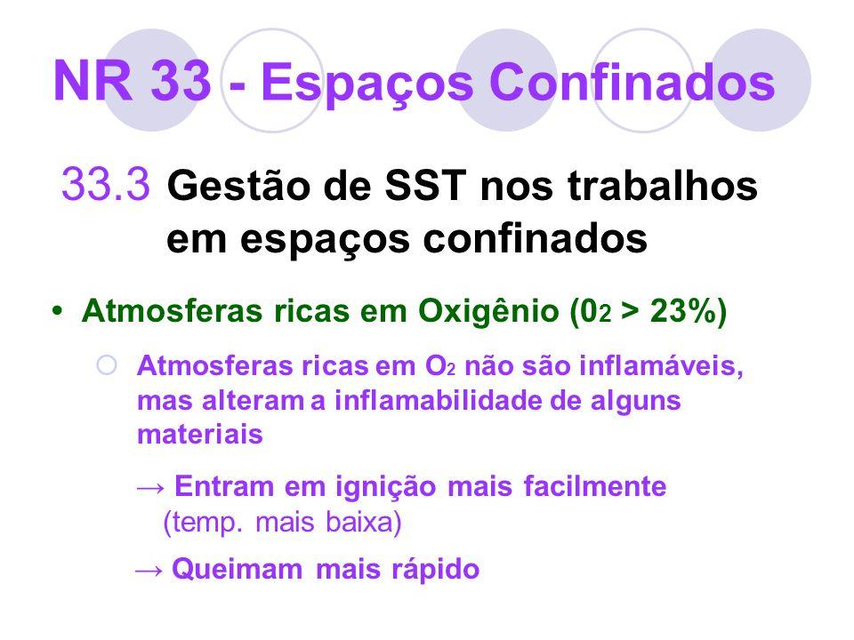 NR 33 - Espaços Confinados 33.3 Gestão de SST nos trabalhos em espaços confinados Atmosferas ricas em Oxigênio (0 2 > 23%) Atmosferas ricas em O 2 não