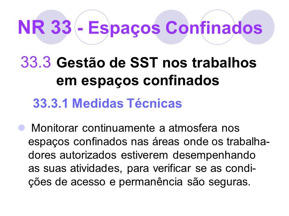 33.3 Gestão de SST nos trabalhos em espaços confinados 33.3.1 Medidas Técnicas Monitorar continuamente a atmosfera nos espaços confinados nas áreas on