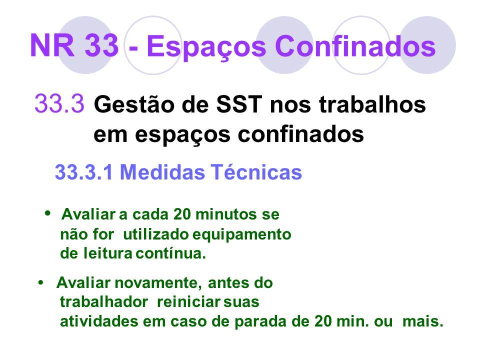 33.3 Gestão de SST nos trabalhos em espaços confinados 33.3.1 Medidas Técnicas Avaliar a cada 20 minutos se não for utilizado equipamento de leitura c