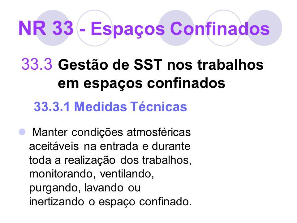 33.3 Gestão de SST nos trabalhos em espaços confinados 33.3.1 Medidas Técnicas Manter condições atmosféricas aceitáveis na entrada e durante toda a re