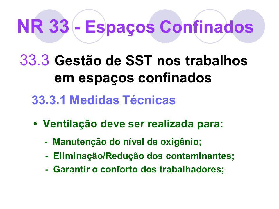 33.3 Gestão de SST nos trabalhos em espaços confinados 33.3.1 Medidas Técnicas Ventilação deve ser realizada para: - Manutenção do nível de oxigênio;