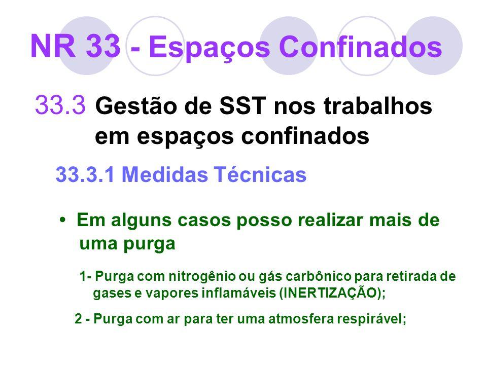 33.3 Gestão de SST nos trabalhos em espaços confinados 33.3.1 Medidas Técnicas Em alguns casos posso realizar mais de uma purga 1- Purga com nitrogêni