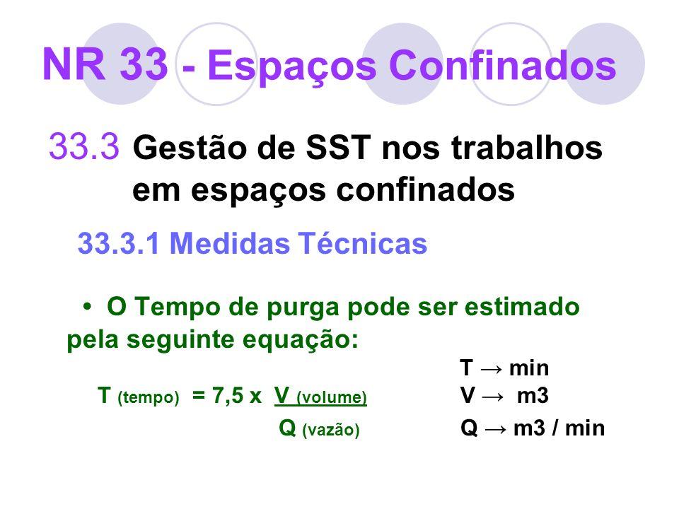 33.3 Gestão de SST nos trabalhos em espaços confinados 33.3.1 Medidas Técnicas O Tempo de purga pode ser estimado pela seguinte equação: T min T (temp