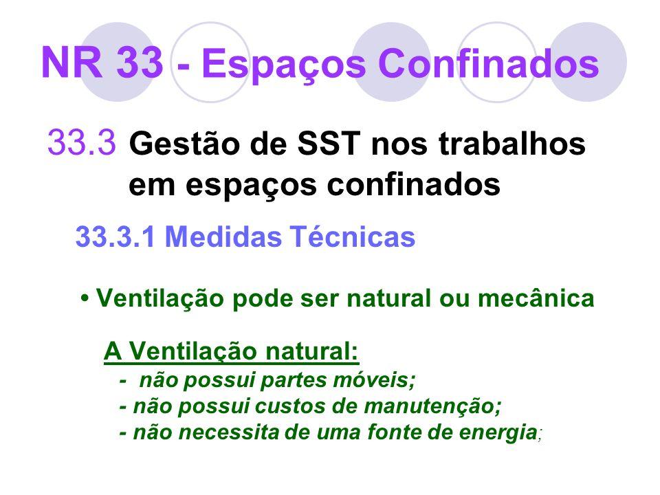 33.3 Gestão de SST nos trabalhos em espaços confinados 33.3.1 Medidas Técnicas Ventilação pode ser natural ou mecânica A Ventilação natural: - não pos