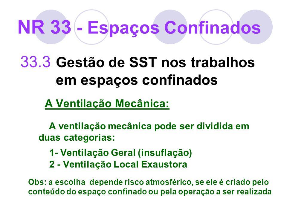 33.3 Gestão de SST nos trabalhos em espaços confinados A Ventilação Mecânica: A ventilação mecânica pode ser dividida em duas categorias: 1- Ventilaçã