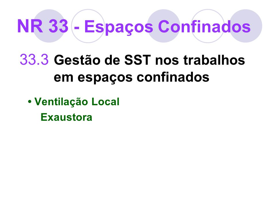 33.3 Gestão de SST nos trabalhos em espaços confinados Ventilação Local Exaustora NR 33 - Espaços Confinados