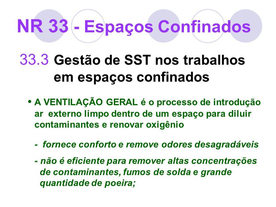 33.3 Gestão de SST nos trabalhos em espaços confinados A VENTILAÇÃO GERAL é o processo de introdução ar externo limpo dentro de um espaço para diluir