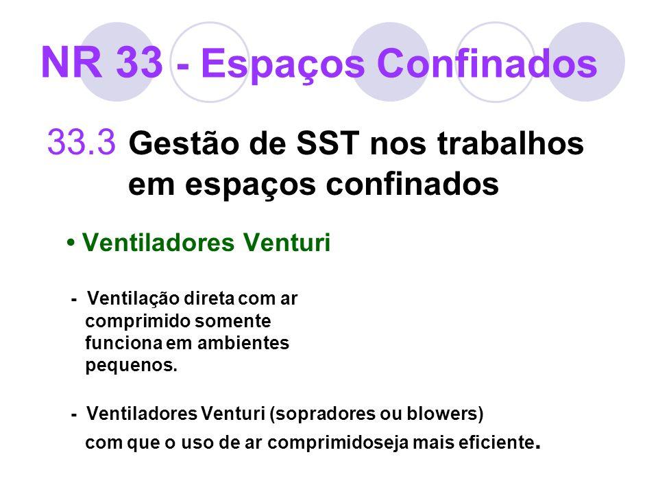 33.3 Gestão de SST nos trabalhos em espaços confinados Ventiladores Venturi - Ventilação direta com ar comprimido somente funciona em ambientes pequen