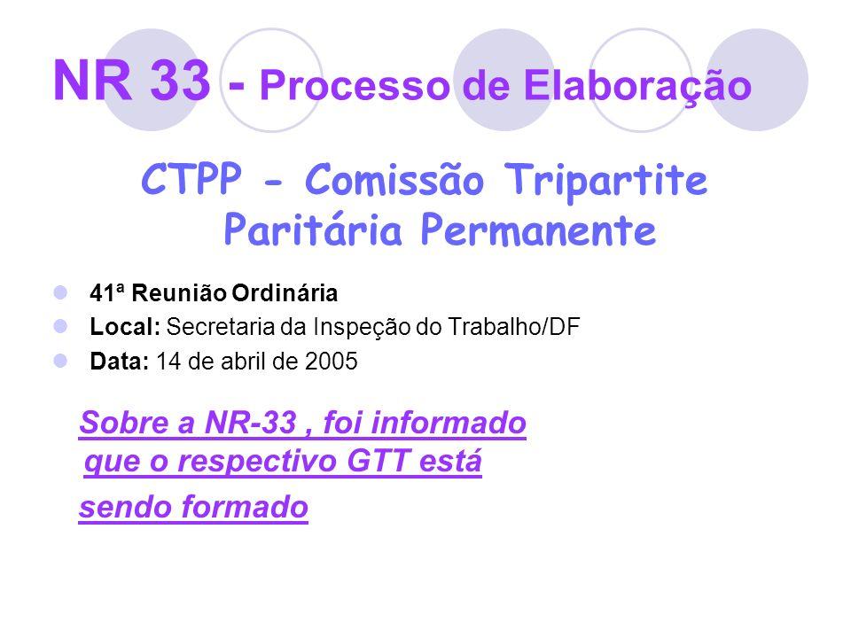 NR 33 - Processo de Elaboração CTPP - Comissão Tripartite Paritária Permanente 41ª Reunião Ordinária Local: Secretaria da Inspeção do Trabalho/DF Data