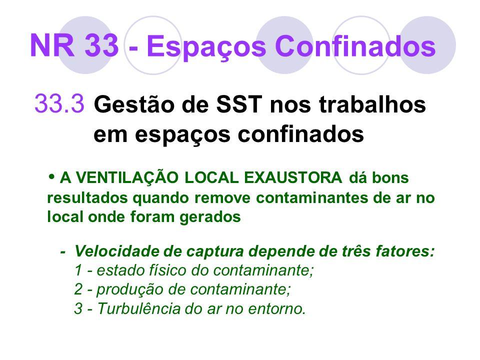 33.3 Gestão de SST nos trabalhos em espaços confinados A VENTILAÇÃO LOCAL EXAUSTORA dá bons resultados quando remove contaminantes de ar no local onde