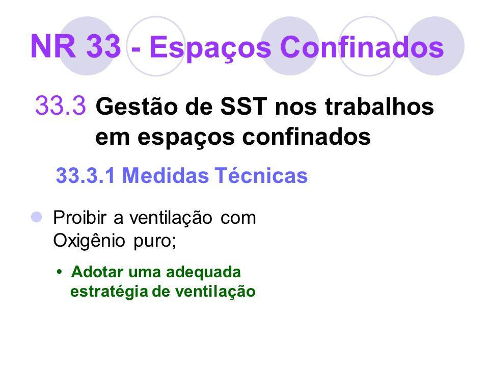 33.3 Gestão de SST nos trabalhos em espaços confinados 33.3.1 Medidas Técnicas Proibir a ventilação com Oxigênio puro; Adotar uma adequada estratégia