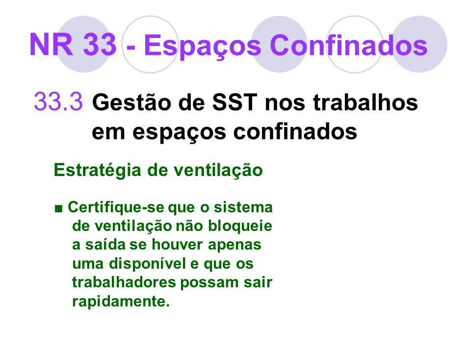 33.3 Gestão de SST nos trabalhos em espaços confinados Estratégia de ventilação Certifique-se que o sistema de ventilação não bloqueie a saída se houv