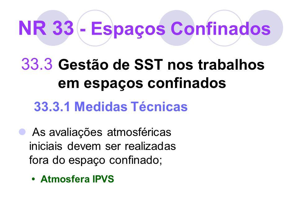 33.3 Gestão de SST nos trabalhos em espaços confinados 33.3.1 Medidas Técnicas As avaliações atmosféricas iniciais devem ser realizadas fora do espaço