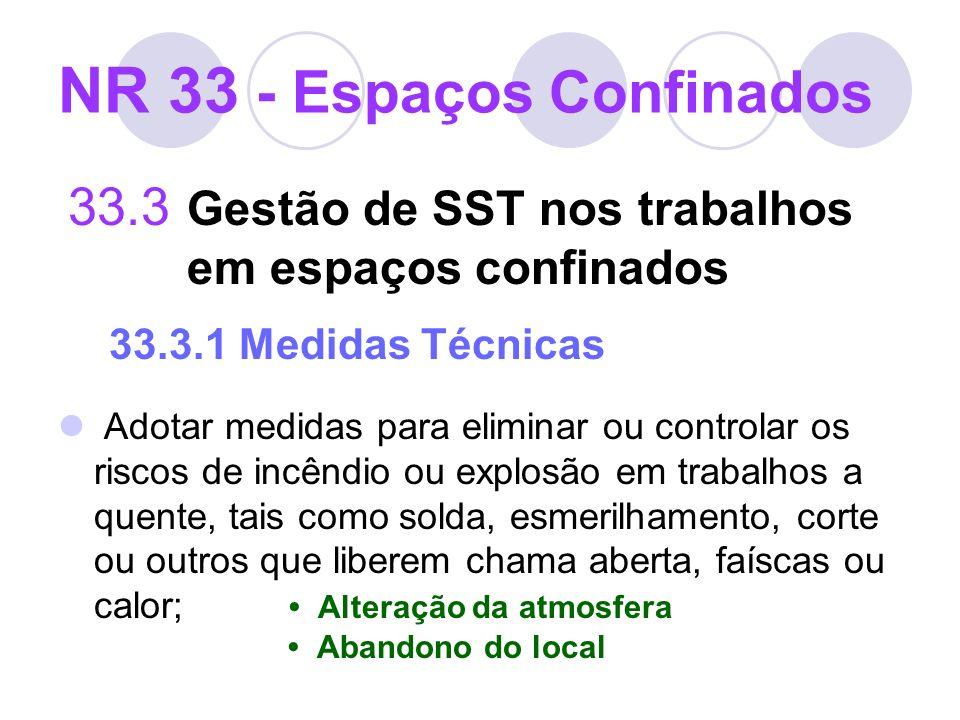 33.3 Gestão de SST nos trabalhos em espaços confinados 33.3.1 Medidas Técnicas Adotar medidas para eliminar ou controlar os riscos de incêndio ou expl
