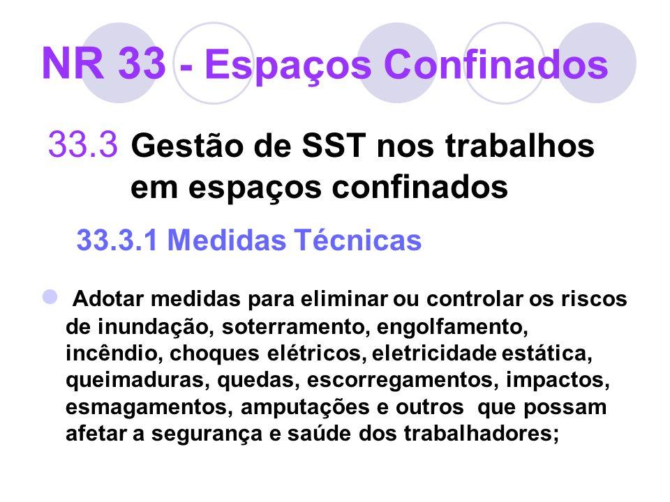 33.3 Gestão de SST nos trabalhos em espaços confinados 33.3.1 Medidas Técnicas Adotar medidas para eliminar ou controlar os riscos de inundação, soter