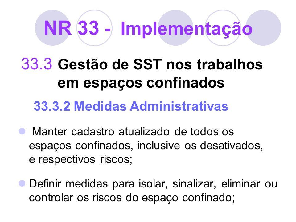 NR 33 - Implementação 33.3 Gestão de SST nos trabalhos em espaços confinados 33.3.2 Medidas Administrativas Manter cadastro atualizado de todos os esp