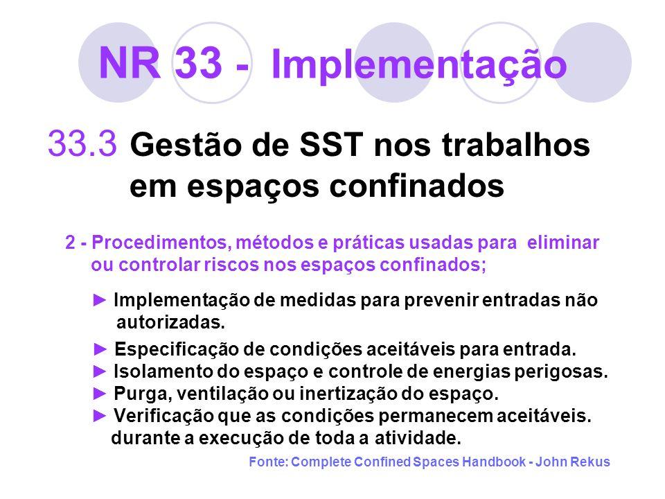 NR 33 - Implementação 33.3 Gestão de SST nos trabalhos em espaços confinados 2 - Procedimentos, métodos e práticas usadas para eliminar ou controlar r
