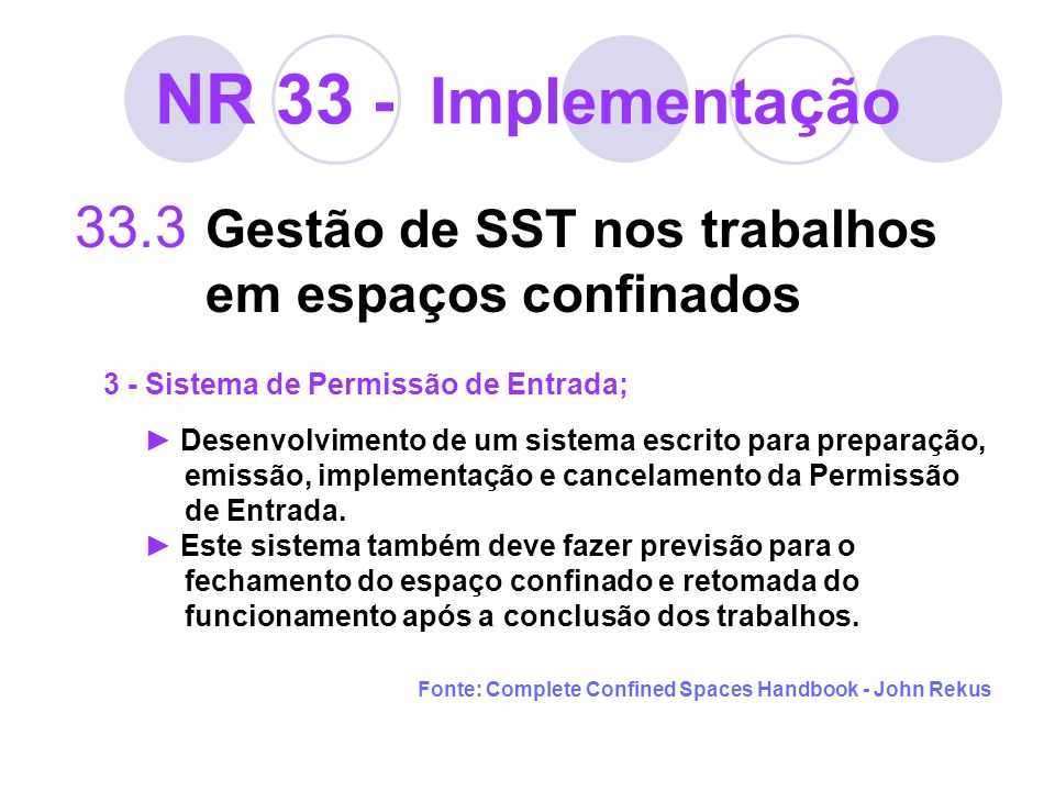 NR 33 - Implementação 33.3 Gestão de SST nos trabalhos em espaços confinados 3 - Sistema de Permissão de Entrada; Desenvolvimento de um sistema escrit