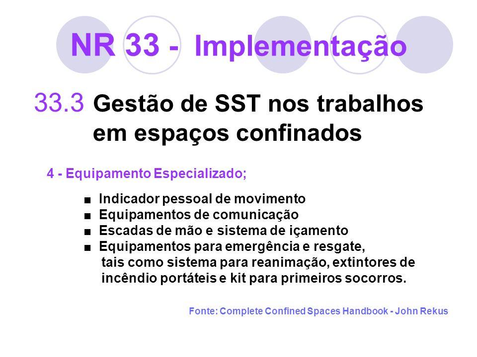NR 33 - Implementação 33.3 Gestão de SST nos trabalhos em espaços confinados 4 - Equipamento Especializado; Indicador pessoal de movimento Equipamento