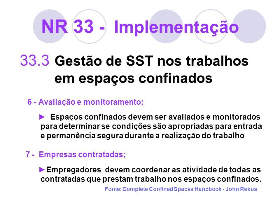 NR 33 - Implementação 33.3 Gestão de SST nos trabalhos em espaços confinados 6 - Avaliação e monitoramento; Espaços confinados devem ser avaliados e m