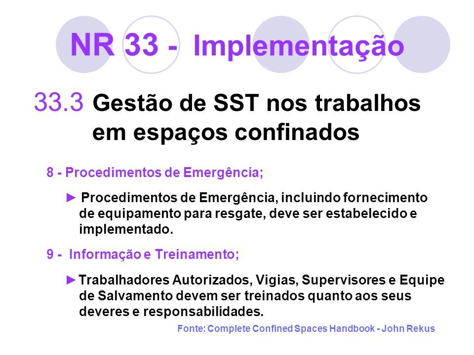 NR 33 - Implementação 33.3 Gestão de SST nos trabalhos em espaços confinados 8 - Procedimentos de Emergência; Procedimentos de Emergência, incluindo f