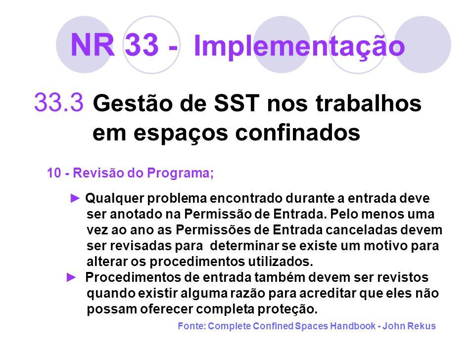 NR 33 - Implementação 33.3 Gestão de SST nos trabalhos em espaços confinados 10 - Revisão do Programa; Qualquer problema encontrado durante a entrada