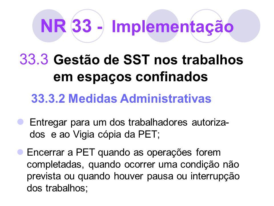 NR 33 - Implementação 33.3 Gestão de SST nos trabalhos em espaços confinados 33.3.2 Medidas Administrativas Entregar para um dos trabalhadores autoriz