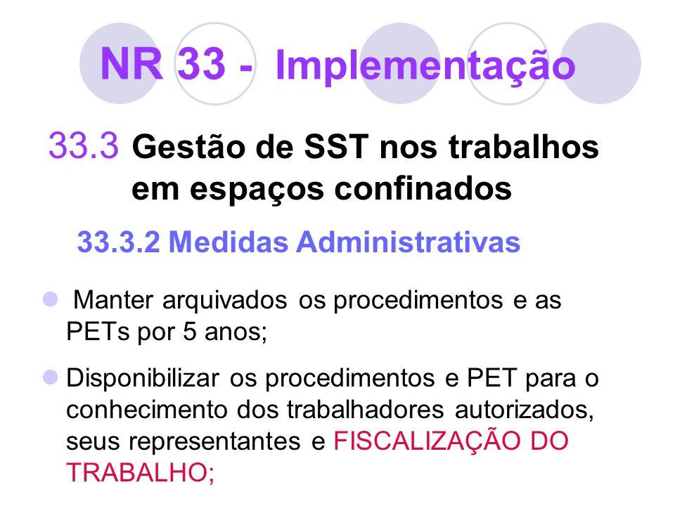 NR 33 - Implementação 33.3 Gestão de SST nos trabalhos em espaços confinados 33.3.2 Medidas Administrativas Manter arquivados os procedimentos e as PE