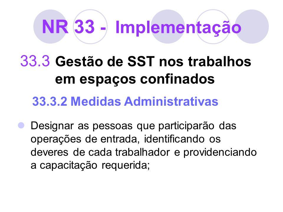 NR 33 - Implementação 33.3 Gestão de SST nos trabalhos em espaços confinados 33.3.2 Medidas Administrativas Designar as pessoas que participarão das o