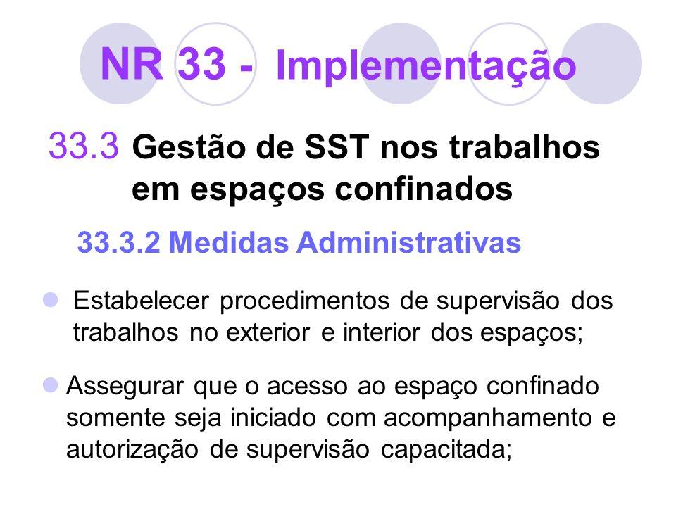 NR 33 - Implementação 33.3 Gestão de SST nos trabalhos em espaços confinados 33.3.2 Medidas Administrativas Estabelecer procedimentos de supervisão do