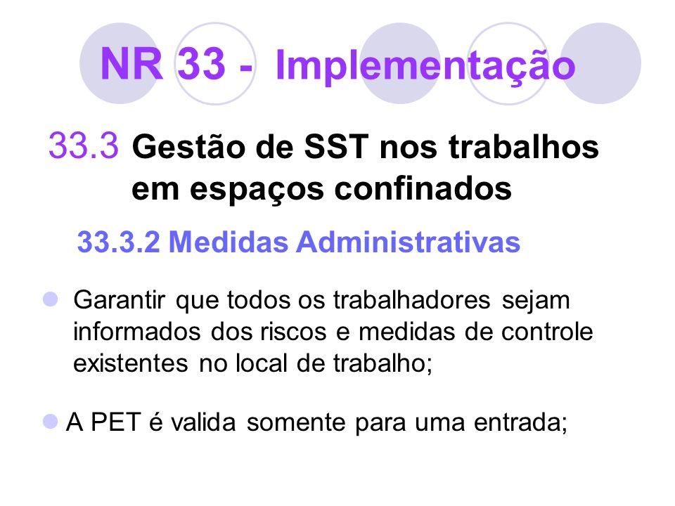 NR 33 - Implementação 33.3 Gestão de SST nos trabalhos em espaços confinados 33.3.2 Medidas Administrativas Garantir que todos os trabalhadores sejam