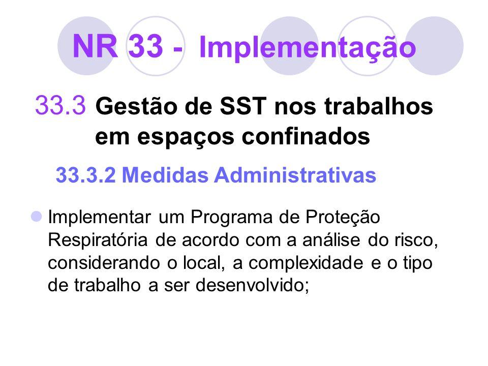 NR 33 - Implementação 33.3 Gestão de SST nos trabalhos em espaços confinados 33.3.2 Medidas Administrativas Implementar um Programa de Proteção Respir