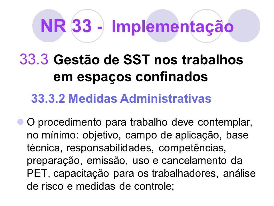 NR 33 - Implementação 33.3 Gestão de SST nos trabalhos em espaços confinados 33.3.2 Medidas Administrativas O procedimento para trabalho deve contempl