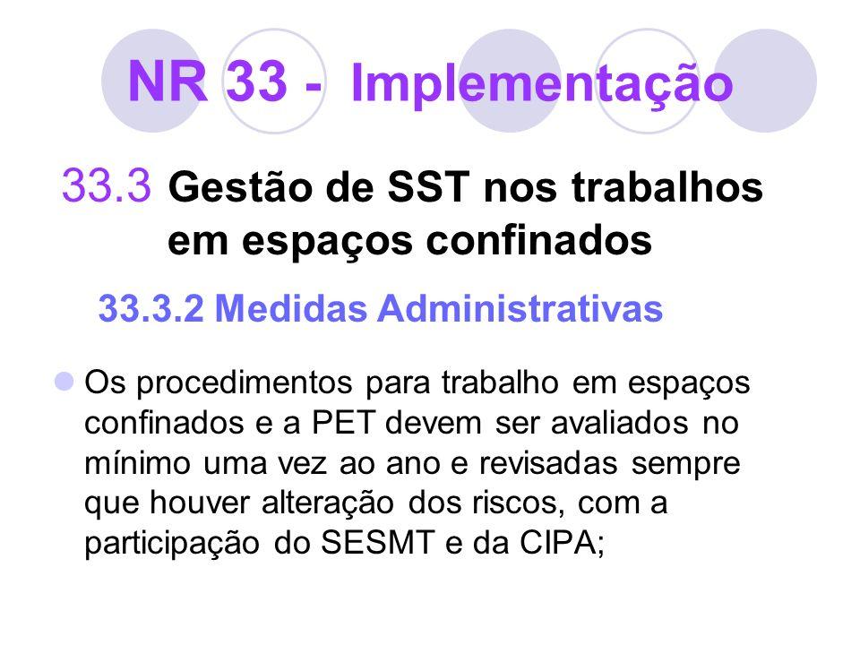 NR 33 - Implementação 33.3 Gestão de SST nos trabalhos em espaços confinados 33.3.2 Medidas Administrativas Os procedimentos para trabalho em espaços