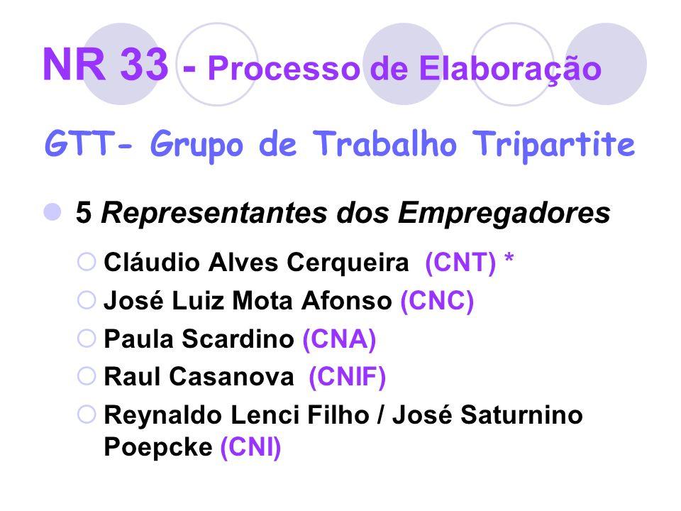 NR 33 - Processo de Elaboração GTT- Grupo de Trabalho Tripartite 5 Representantes dos Empregadores Cláudio Alves Cerqueira (CNT) * José Luiz Mota Afon