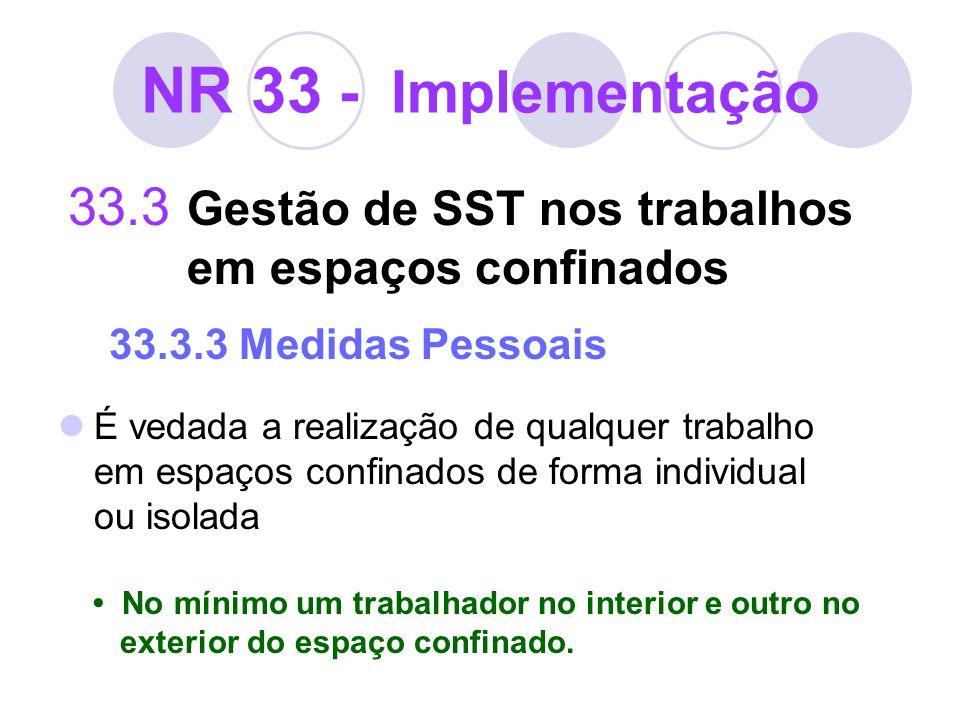 NR 33 - Implementação 33.3 Gestão de SST nos trabalhos em espaços confinados 33.3.3 Medidas Pessoais É vedada a realização de qualquer trabalho em esp