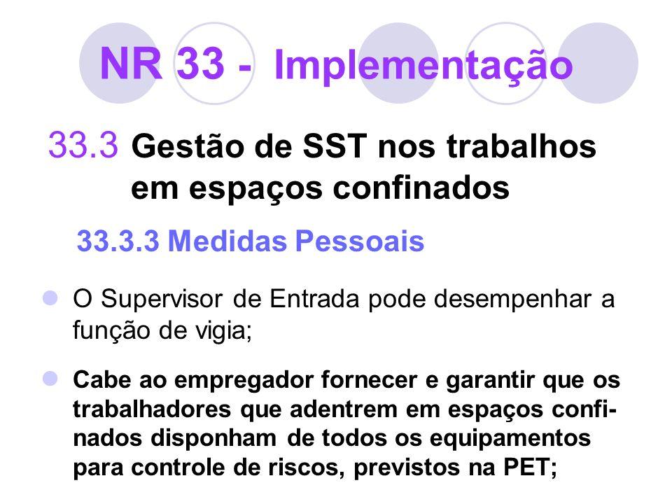 NR 33 - Implementação 33.3 Gestão de SST nos trabalhos em espaços confinados 33.3.3 Medidas Pessoais O Supervisor de Entrada pode desempenhar a função