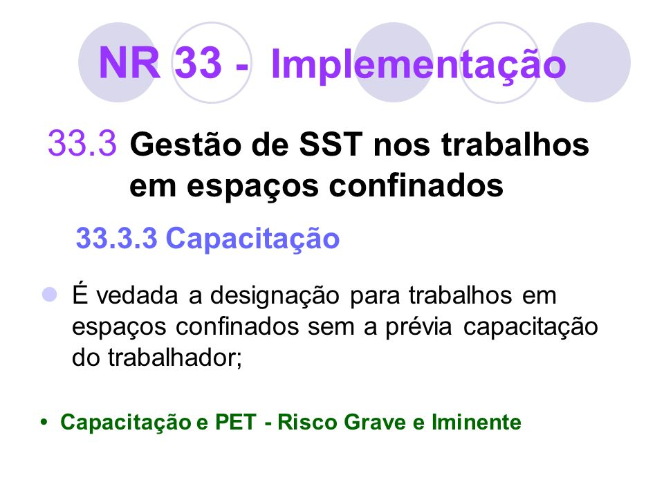 NR 33 - Implementação 33.3 Gestão de SST nos trabalhos em espaços confinados 33.3.3 Capacitação É vedada a designação para trabalhos em espaços confin