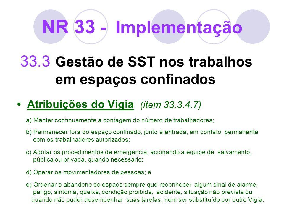 NR 33 - Implementação 33.3 Gestão de SST nos trabalhos em espaços confinados Atribuições do Vigia (item 33.3.4.7) a) Manter continuamente a contagem d