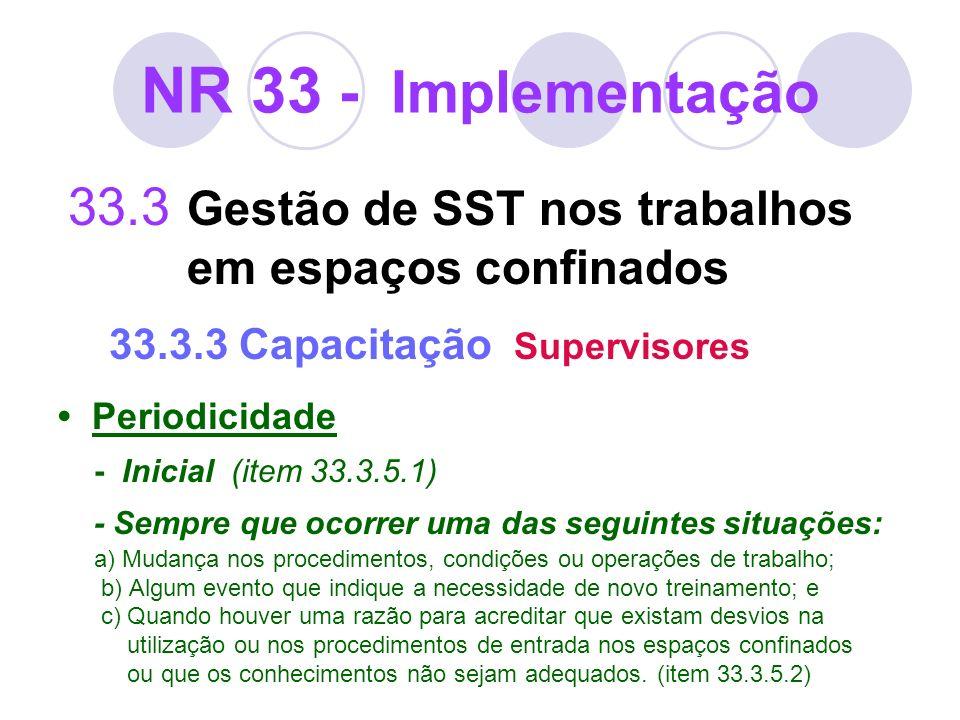 NR 33 - Implementação 33.3 Gestão de SST nos trabalhos em espaços confinados 33.3.3 Capacitação Supervisores Periodicidade - Inicial (item 33.3.5.1) -