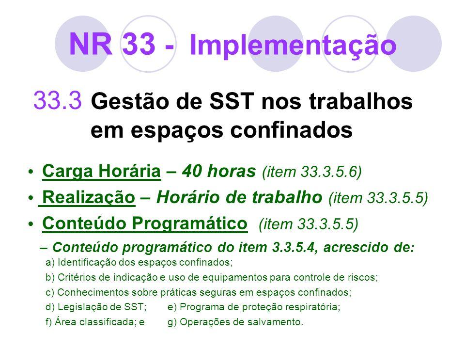 NR 33 - Implementação 33.3 Gestão de SST nos trabalhos em espaços confinados Carga Horária – 40 horas (item 33.3.5.6) Realização – Horário de trabalho