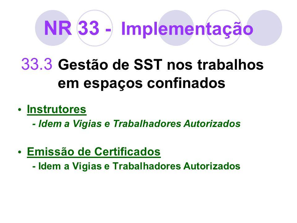 NR 33 - Implementação 33.3 Gestão de SST nos trabalhos em espaços confinados Instrutores - Idem a Vigias e Trabalhadores Autorizados Emissão de Certif