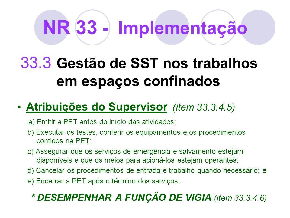 NR 33 - Implementação 33.3 Gestão de SST nos trabalhos em espaços confinados Atribuições do Supervisor (item 33.3.4.5) a) Emitir a PET antes do início