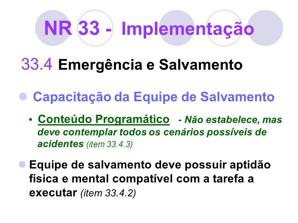 NR 33 - Implementação 33.4 Emergência e Salvamento Capacitação da Equipe de Salvamento Conteúdo Programático - Não estabelece, mas deve contemplar tod